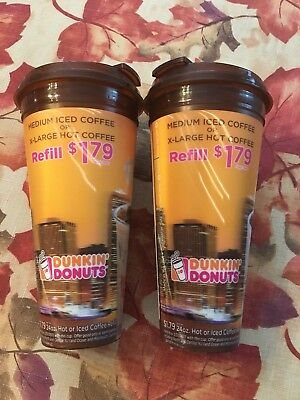 Dunkin Donuts-2-Travel mugs Coffee cups 24oz $1.79 Refill Expired Date-Iced /Hot