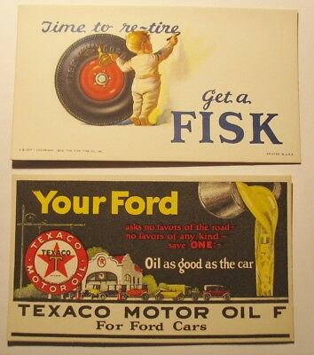 lot of 2 Vintage Advertising Blotter Cards Texaco Oil Fords & Fisk Tire Postcard