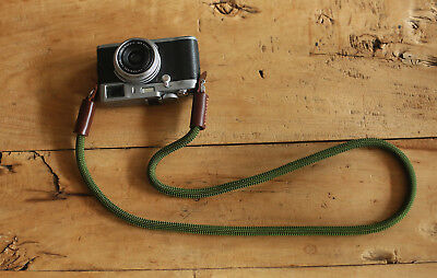 Windmup Best Camera Strap Handmade Army green Climbing Rope tan leather B type
