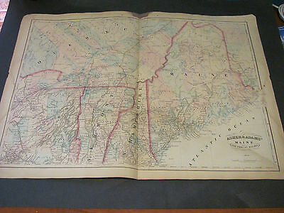 1873 Asher and Adams Maine & Quebec Map