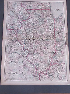1873 Asher and Adams Illinois Map