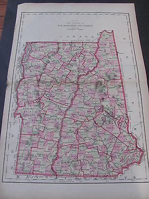 Original 1877 Map Of New Hamsphire and Vermont Hand Coloring