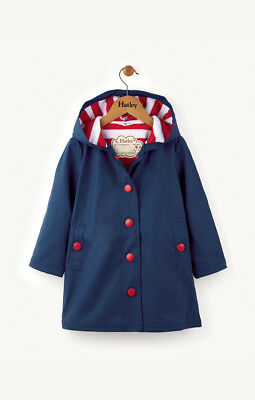 New Girl Hatley Navy & Red Classic Splash Raincoat Mac Jacket 7 8 10