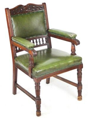 Victorian S. J. Waring and Sons Carved Mahogany Armchair [ PL-2095 A ]