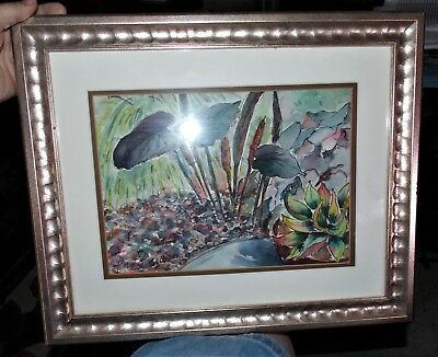 Original Gloria Diaz Tropical Flower Watercolor Painting Framed Art