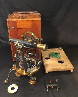 Antique C.L. Berger & Sons Surveying Transit Instrument Of Precision With Box