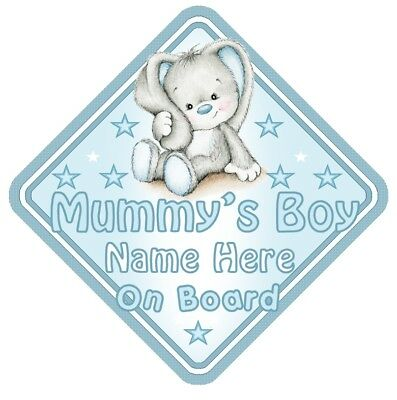 Rabbit Mummys Boy Personalised Car Window Sign - Baby On Board Child  Safety