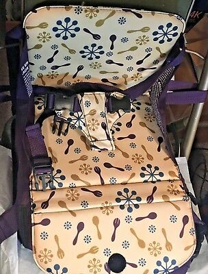 Munchkin Travel Booster Seat #MK 0017 Purple, Blue, Gold spoons and forks fabric