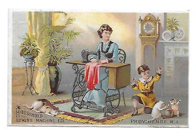 Victorian  Trade Card - Household Sewing Machine -Family-Cats-Detroit, Michigan