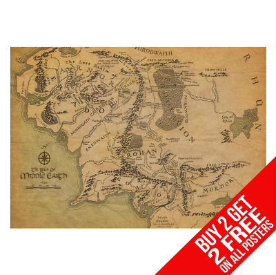 Middle Earth Map Lord Of The Rings Hobbit Poster A4 A3 - Buy 2 Get Any 2 Free