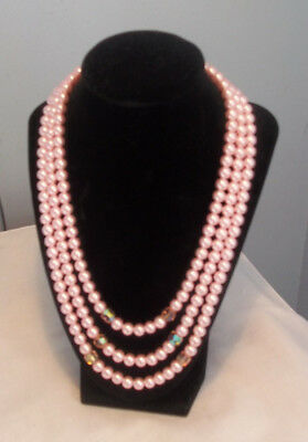 Vintage Triple Strand Necklace Pink Faux Pearls AB Crystals 19 1/2 in. Japan