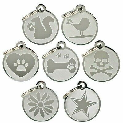 Custom Engraved Pet ID Tags. Stainless Steel. Personalized Dog & Cat Pet ID