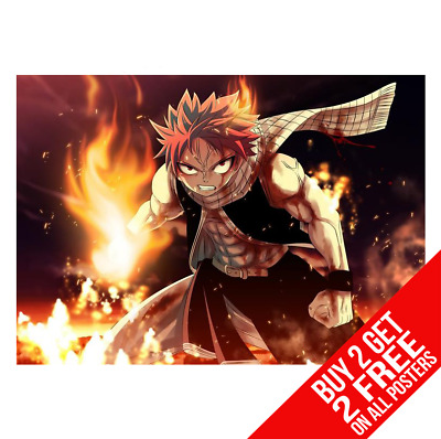 Natsu Dragneel Fairy Tail Anime Manga Poster Print A4 A3 - Buy 2 Get Any 2 Free