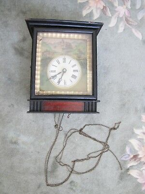 Early Antique 2 weights Wall Clock w/ Wooden Movement