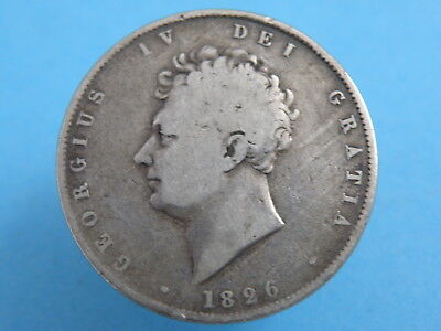 1826 King George IV -  SILVER HALFCROWN 2/6 COIN - Bare Head Portrait