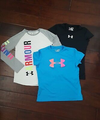 UNDER ARMOUR Youth Girls Shirt Size Medium YM Lot Of 3