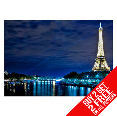 Eiffel Tower Paris At Night Poster Art Print A4 A3 Size - Buy 2 Get Any 2 Free