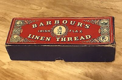 Barbour's Irish Flax Linen Thread Box Unused Spools and Crocheted Strips 1800's