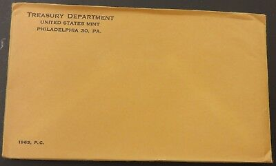 1963 90% Silver United States Mint Proof Set 5 Coins W/ SEALED Envelope #122