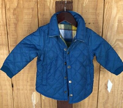 NEW Tea Collection Donau Boys Reversible Teal Coat Jacket Quilted Flannel Size 2