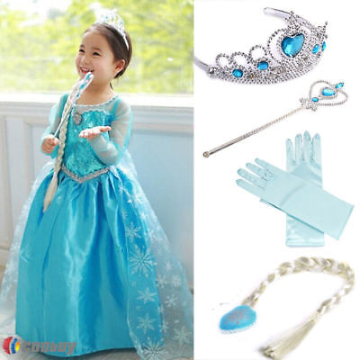 Girls Princess Anna Elsa Frozen Dress Cosplay Costume Hair Crown Gloves Party