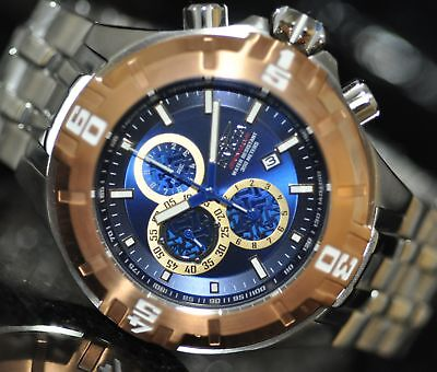 Invicta Mens Rare Pro Diver Chrono Blue Dial Stainless Steel Watch 12359