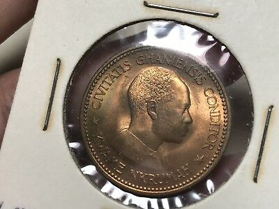 1958 Ghana One Penny world coin Excellent BU condition luster