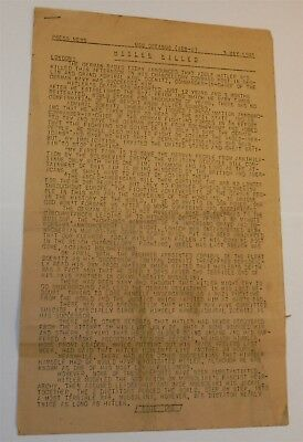 Press News Release - USS OCEANUS May 3 1945 Hilter Killed - London • Four Pages