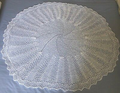 Sale Hand Knitted Delicate White Circular Baby Shawl Blanket 45 Inch  1 Ply New