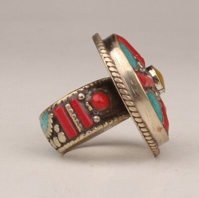 Tibetan silver ring inlaid turquoise decorative lady souvenir