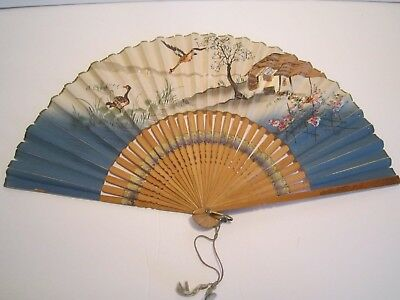 VINTAGE Folding Hand Fans Paper Wood TAIWAN REP. CHINA Japan - Geese, village 2