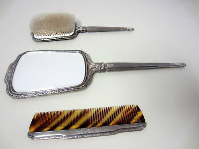 BIRKS VANITY DRESSING SET Antique Ladies Hand Mirror Brush Comb Sterling Silver