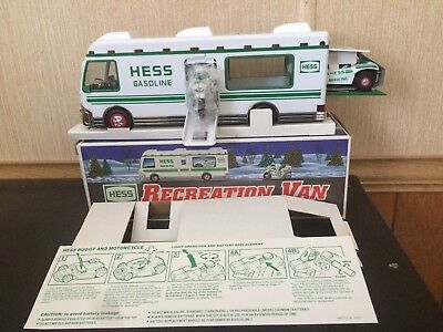 1998 Hess Toy Truck Recreation Van W/dune Buggy & Motorcycle Mint Cond.