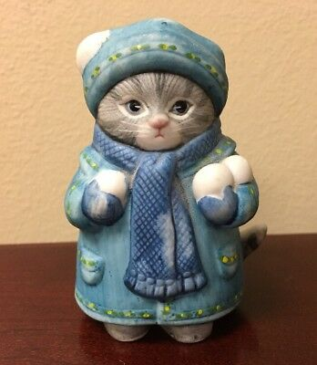 Kitty Cucumber 1985 B. Shackman - Blue Hat & Coat - Holding Snowballs