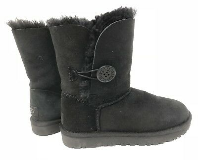 a3577c1a60f UGG AUSTRALIA WOMEN'S Bailey Button II Black Ankle Suede Boots #5803 ...