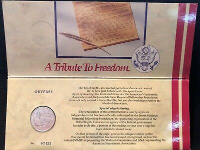 1993 Bill of Rights Silver Half Dollar - ANA Freedom Pack Limited Ed. Serial #'d