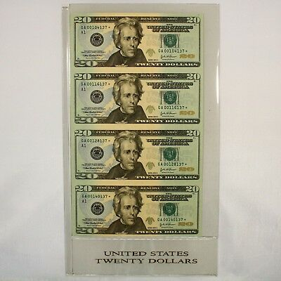 2004-A $20 Federal Reserve Star Notes Uncut Sheet of 4 / Low Serial Number UNC