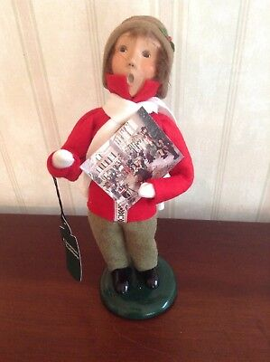 2001 Byers Choice Caroler Christmas Traditions Boy With Advent Calendar with tag