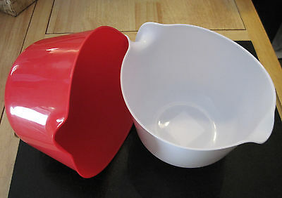 White or Red 2.5 Quart Plastic Mixing Batter Bowl with Handle and Spout