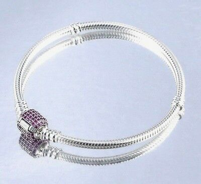 925 Silver Starter Moments Bracelet Red Pave Barrel Clasp 4 European Charm bead