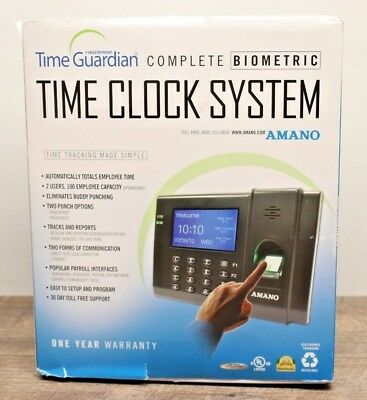 AMANO Fingerprint Time Guardian Complete Biometric Time Clock System FPT80 -1717