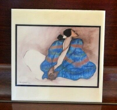 """R.C. GORMAN CERAMIC TILE   """" Woman With Blue Blanket """"  1977    Ready To Hang"""