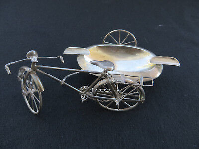 Vintage Handcrafted Sterling 925 Silver Bicycle w/ Side Car Ashtray Mexico 39g