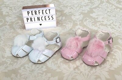 Spanish Pom Pom Faux Fur Sandals/Shoes Patent Baby/Girls