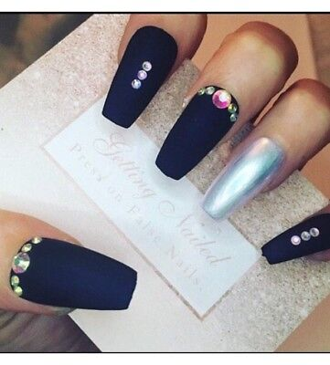 Set Of 20 Hand Painted Navy And Chrome MATTE Finish, Jewelled False Nails
