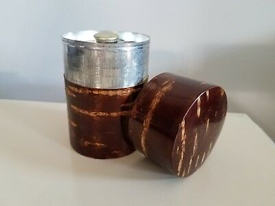 Japanese tea caddy smooth cherry bark over tin container Fujiki