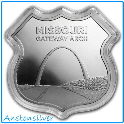 Icons of Route 66 Shield - Missouri Gateway Arch - 1 oz Silver Round