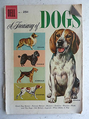vintage Dell A Treasury of Dogs #1 comic book, 1956
