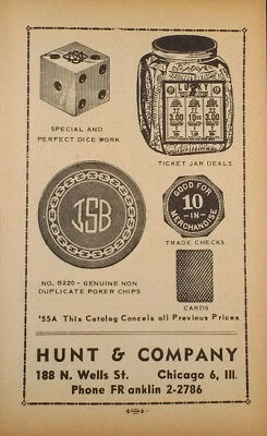 HUNT & cOMPANY CROOKED GAMBLING CATALOG CHEATING MARKED CARDS DICE SWINDLING