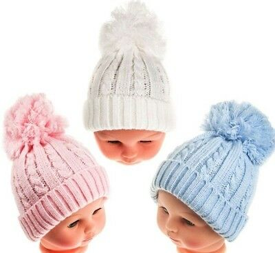 Knitted Baby Pom Pom hat cable Bobble Blue White Pink Girl Boy Beanie